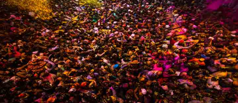 Holi celebration in Barsana are riotous and fun filled